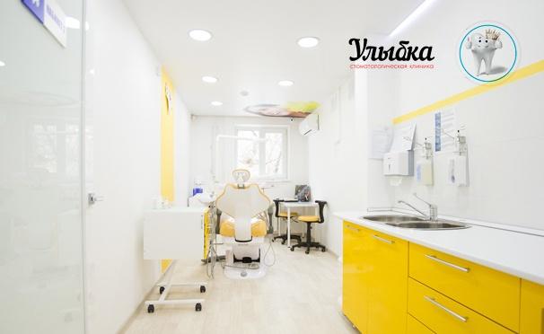 Скидка на Услуги стоматологии «Улыбка»: УЗ-чистка зубов с Air Flow, лечение кариеса и пульпита, эстетическая реставрация и удаление зубов, установка имплантатов. Скидка до 50%