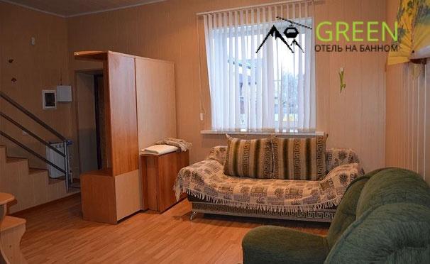 Скидка на Отдых на курорте «Банное» в отеле Green: двухуровневый номер «Люкс» или VIP с кухонной зоной, мангальная зона, парковка, детская площадка. Скидка до 55%