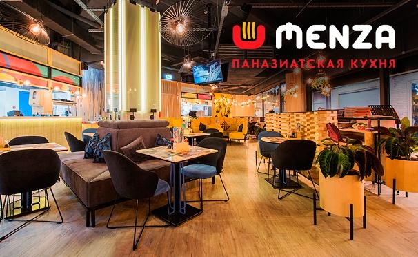 Скидка на Скидка 50% на меню в «MENZA кафе» по 4 адресам: лапша, суши, роллы, бургеры и многое другое!