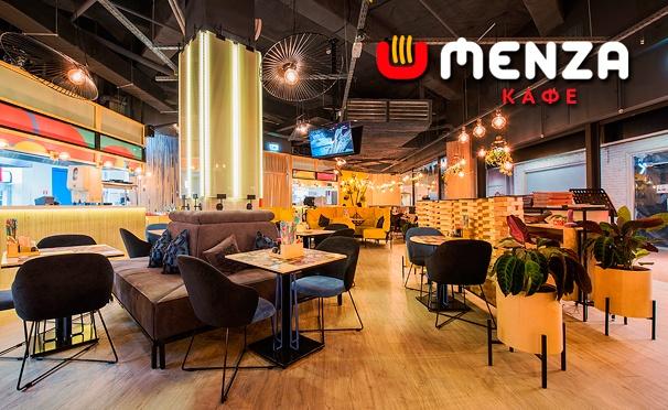 Скидка на Скидка 50% на меню в «MENZA кафе» по 5 адресам: лапша, суши, роллы, бургеры и многое другое!