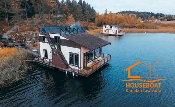 Скидка на Отдых для компании до 11 человек с посещением сауны и рыбалкой в доме для отпуска HouseBoat Kovcheg в Карелии. Скидка до 40%