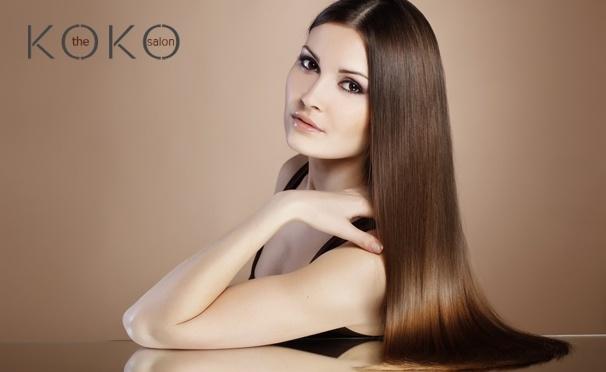 Скидка на Стрижка, кератиновое выпрямление волос, spa-увлажнение, окрашивание и другие услуги по уходу за волосами + ламинирование ресниц и вечерние укладки в салоне красоты Koko. Скидка до 75%
