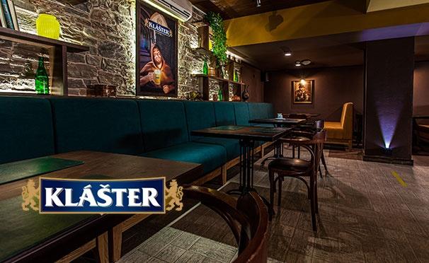 Скидка на Любые напитками и блюда в сети баров «Клаштер»: салаты, стейки, горячие блюда из рыбы, десерты и не только со скидкой 50%
