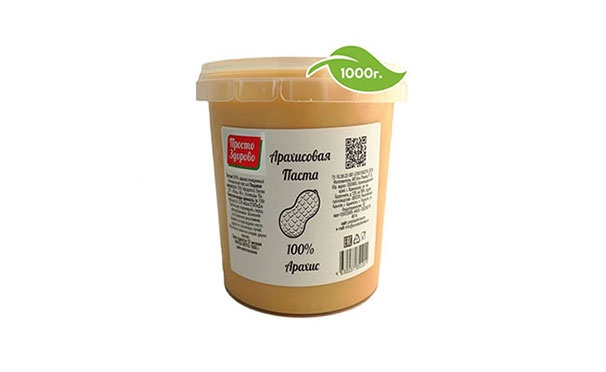Скидка на Кешбэк 50р. от покупки арахисовой пасты «Просто здорово» без сахара из 100% арахиса (1 кг)