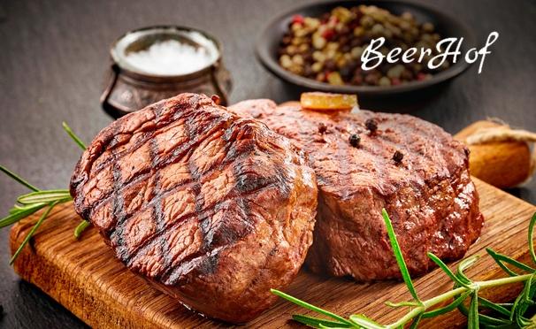 Скидка на Скидка 50% на всё меню и напитки в ресторане «Бирхоф»: нежные куриные колбаски с ароматными специями, сочные стейки, свиные ребрышки в медовой глазури, блюда горячего копчения из собственной коптильни и многое другое
