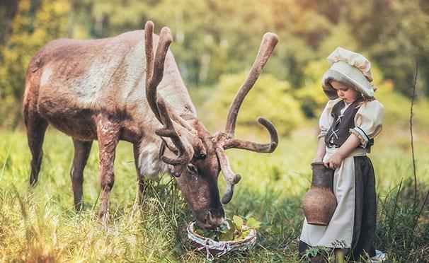 Скидка на Увлекательные квесты на природе, профессиональная фотосессия с животными, катание на оленях, собаках и лошадях, трудотерапия «Куда подальше» для детей и взрослых от зоофермы WalkService. Скидка 50%