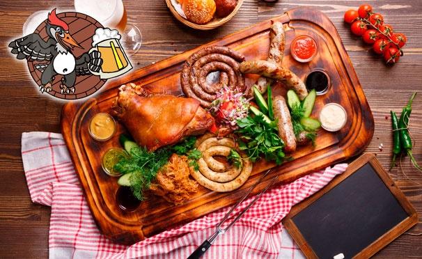 Скидка на Скидка 50% на фирменное пенное + скидка 30% на любые блюда и напитки и проведение банкетов в ресторане «Пьяный дятел»