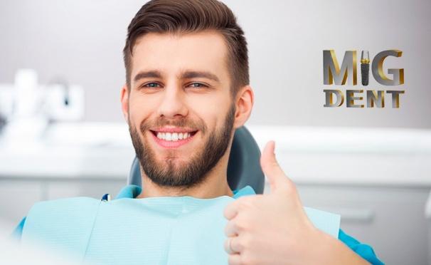 Скидка на УЗ-чистка зубов, лечение кариеса + установка пломбы, реставрация, удаление и имплантация зубов в стоматологической клинике MiG Dent. Скидка до 81%