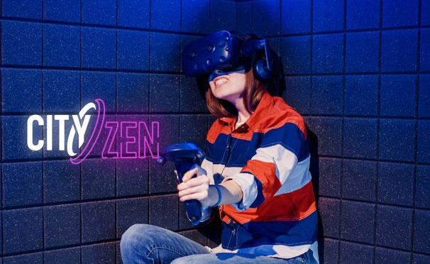 Скидка на 60 минут игры в шлеме виртуальной реальности HTC Vive Pro в будни, выходные или праздники в клубе CityZen VR. Скидка 20%