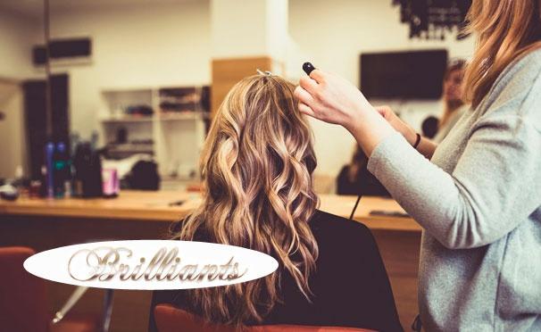 Скидка на Парикмахерские услуги в центре красоты Brilliants: мужская или женская стрижка, мелирование, шатуш, омбре, коллагеновое обертывание волос, долговременная укладка и многое другое! Скидка до 77%