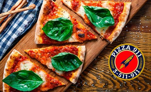Скидка на Скидка до 50% на супы, десерты, пиццу, закуски и салаты от службы доставки Pizza 911 + кока-кола, чай или кофе бесплатно!