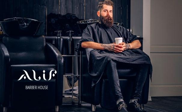 Скидка на Услуги барбершопа ALIF: мужская стрижка и оформление бороды! Скидка до 52%
