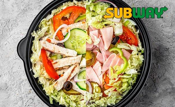 Скидка на Скидка 50% на сэндвичи, роллы, салаты и комбо-набор в ресторане быстрого питания Subway